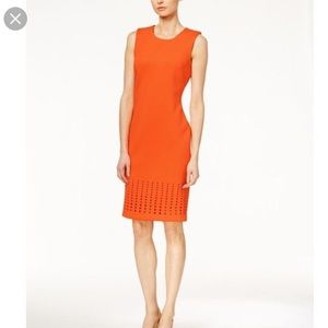 NWT Calvin Klein sheath cutout orange dress